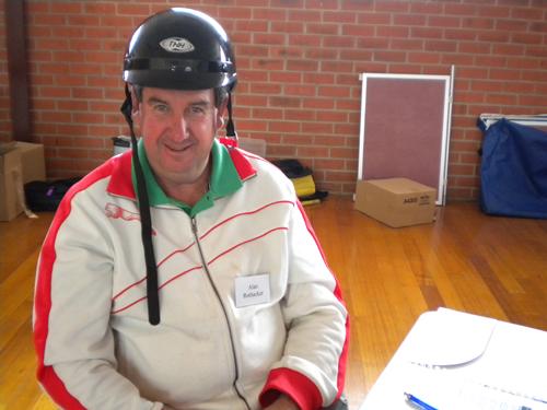 Alan showing off a quad bike helmet