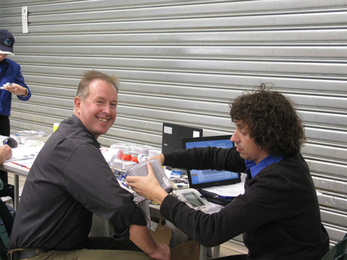 prepares to take Cr. Mark Byatt's (Mayor of Wodonga) blood pressure