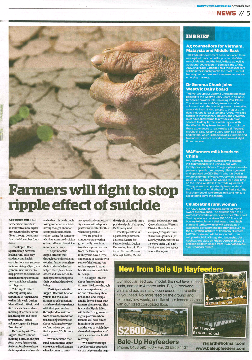 Farmers will fight to stop the ripple effect of suicide - Dairy News article October 2015