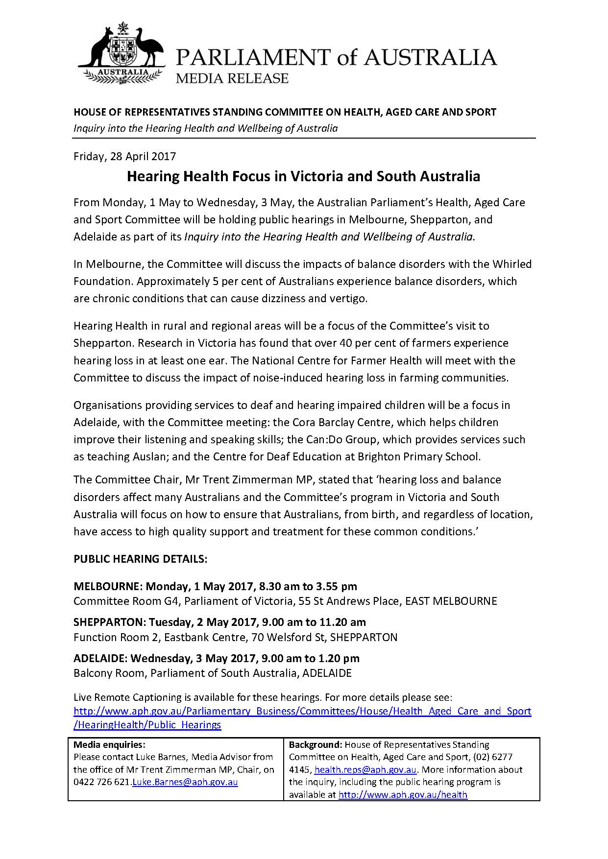 1-3 May - Melbourne Shepparton Adelaide Hearings[1]